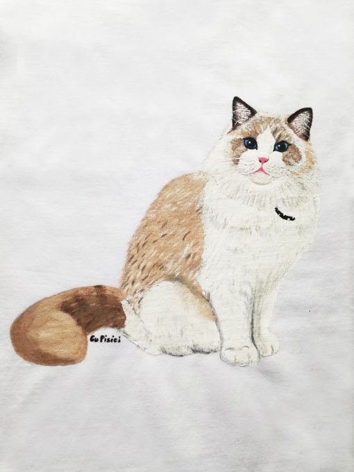 Custom hand painted T-shirt-Ragdoll Cat-Model 2