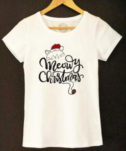 Hand painted T-shirt-Meowy Christmas, Women