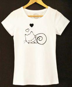 Hand painted T-shirt-Sleepy Cat, Women