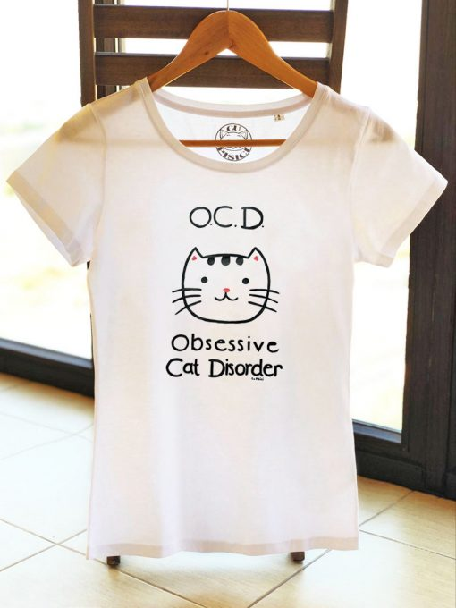 Hand painted T-shirt-Obsessive Cat Disorder, Women