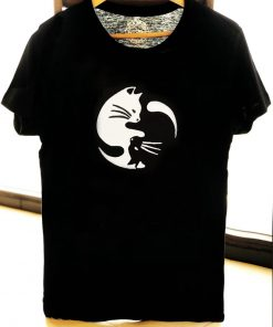 Hand painted T-shirt-Yin si Yang Cats, Men