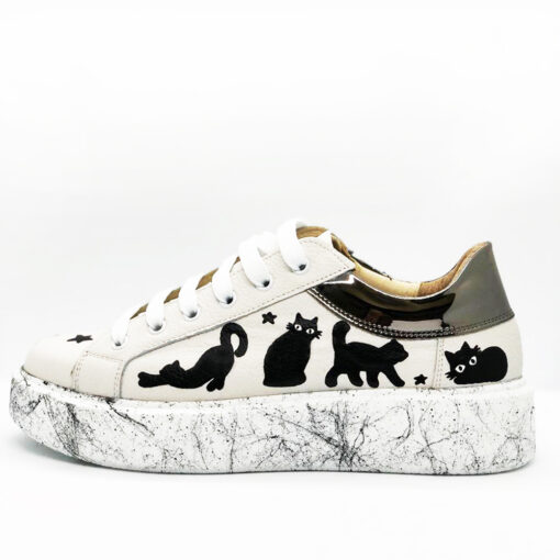 Hand painted Natural Leather Shoes-Magic CATS