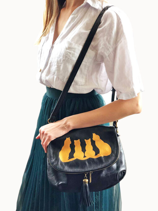 Hand painted Natural Leather Purse-Fancy Cats
