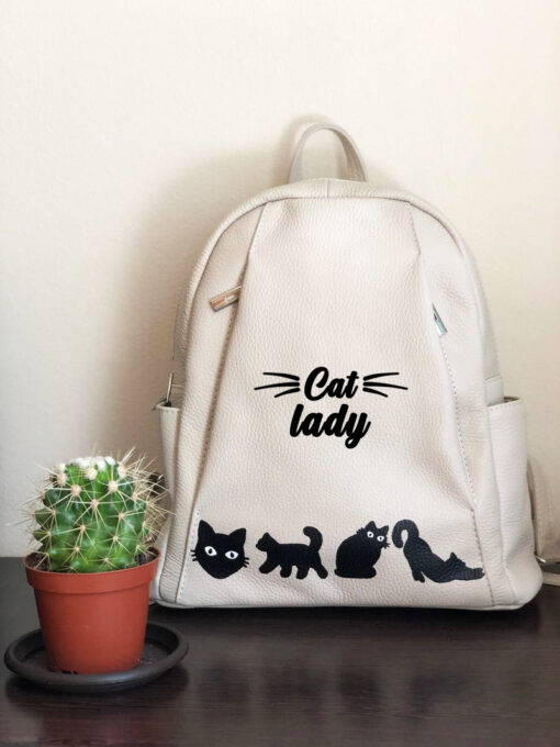 Hand Painted Natural Leather Backpack-Cat Lady