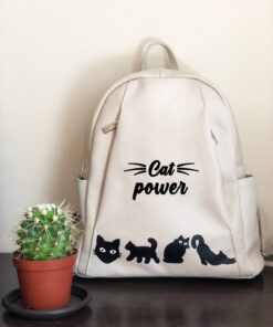 Hand Painted Natural Leather Backpack-Cat Power