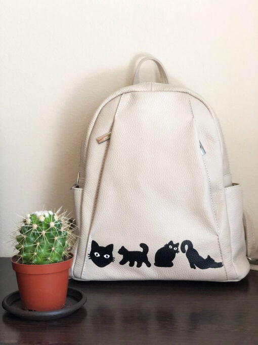 Hand Painted Natural Leather Backpack-Cats in Black