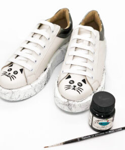 Hand painted Natural Leather Shoes-Sweet Cats