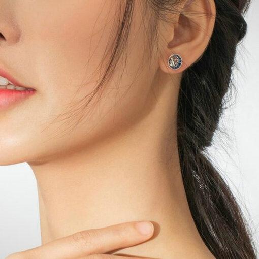 Moon Star Cat Silver Earrings