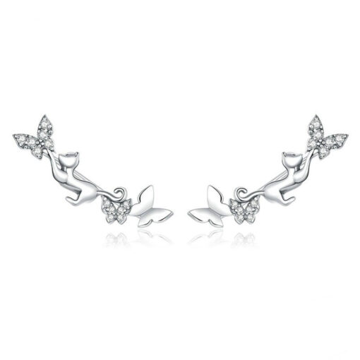 Cat and Butterflies Silver Earrings