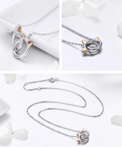 Cats Pair Silver Necklace