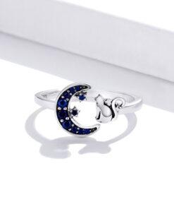 Moon Star Cat Silver Ring