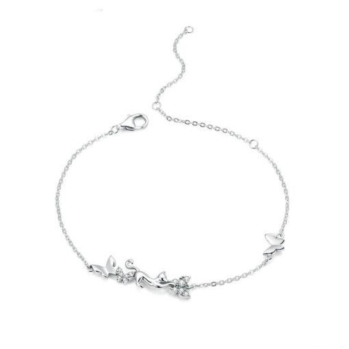 Cat and Butterflies Silver Bracelet