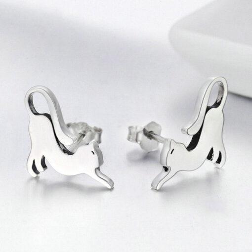 Elegant Cats Silver Earrings