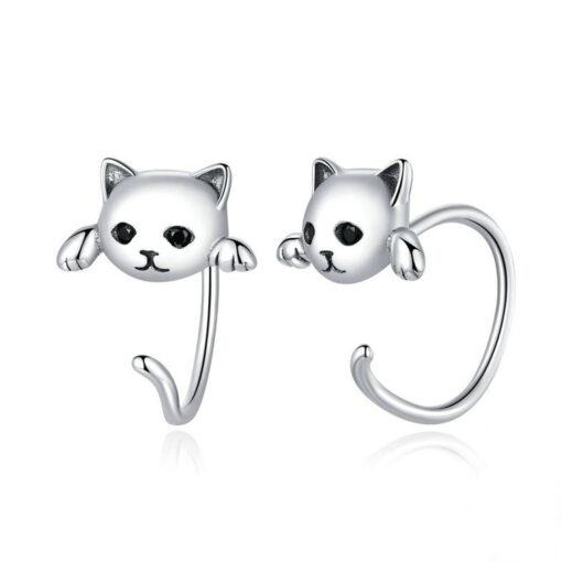 Sweet Cats Silver Earrings