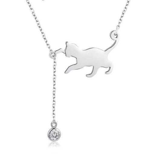Elegant Cat Silver Necklace