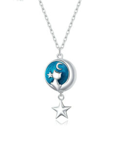 Moon Star Cat Silver Necklace