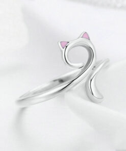 Cat with Pink Ears Silver Ring