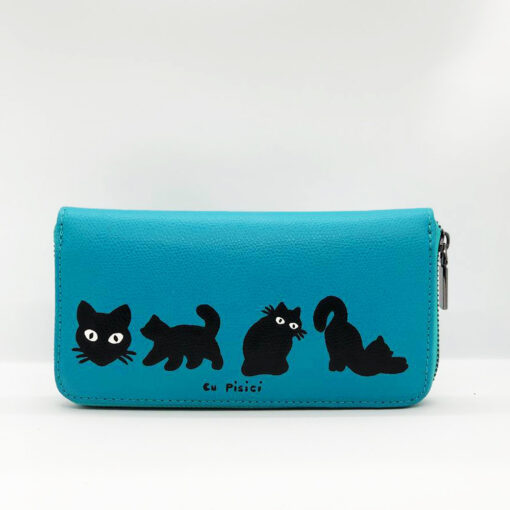 Hand Painted Natural Leather Wallet-Cats in Black, Blue