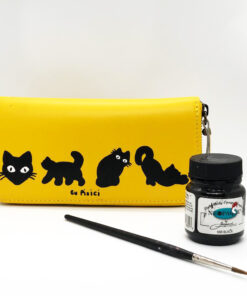 Hand Painted Natural Leather Wallet-Cats in Black, Yellow