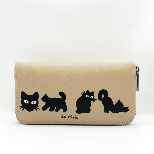 Hand Painted Natural Leather Wallet-Cats in Black, Gray